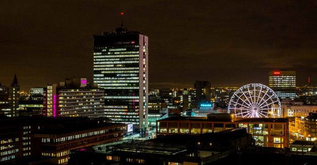 Manchester City Centre skyline at Night