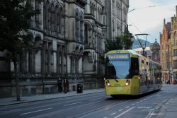 Tram in the city of Manchester
