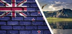 New Zealand flag and landscape